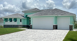 DM Dean Custom built Model 2098, Traditional Style Home painted teal